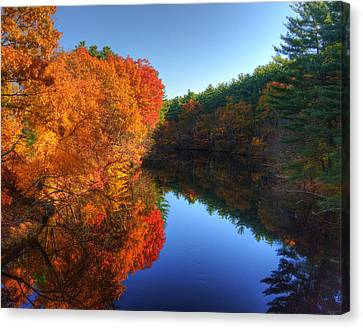 Fall Foliage River Reflections Canvas Print