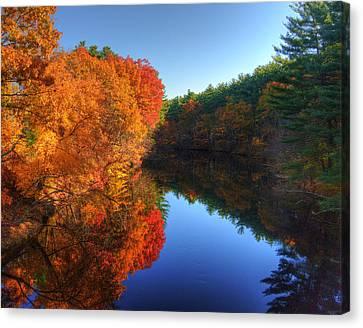 Fall Foliage River Reflections Canvas Print by Joann Vitali
