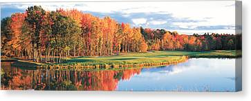 Red Leaf Canvas Print - Fall Golf Course New England Usa by Panoramic Images