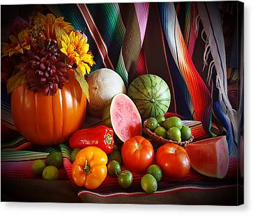 Canvas Print featuring the painting Fall Harvest Still Life by Marilyn Smith
