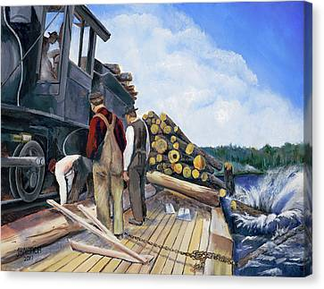 Fall Lake Train Canvas Print