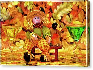 Alchol Canvas Print - Fall Leaves And Drinks by Geraldine Scull
