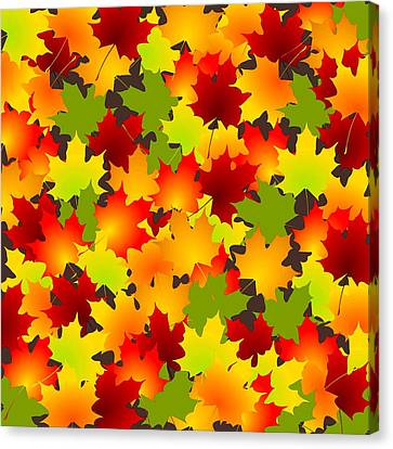 Fall Leaves Quilt Canvas Print by Anastasiya Malakhova