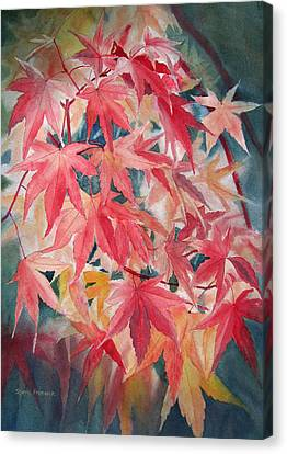 Fall Maple Leaves Canvas Print by Sharon Freeman