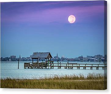 Fall Moon And King Tide - Charleston Sc Canvas Print