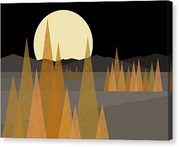 Glowing Moon Canvas Print - Fall Moon  by Val Arie