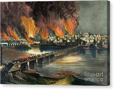 Fall Of Richmond Canvas Print by American School