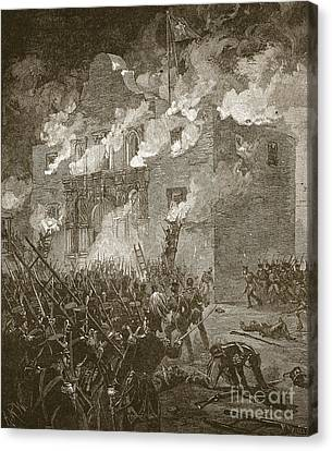 American History Canvas Print - Fall Of The Alamo by Alfred Rudolph Waud