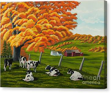 Fall On The Farm Canvas Print by Charlotte Blanchard