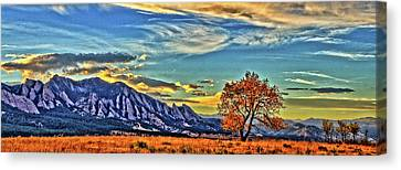 Canvas Print featuring the photograph Fall Over The Flatirons by Scott Mahon