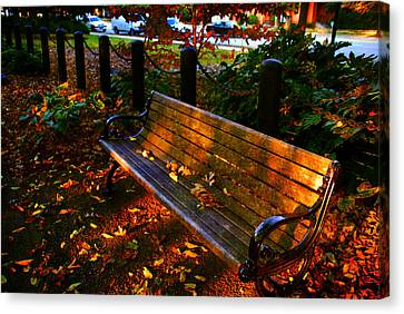 Fall Scene And The Bench In The Park Canvas Print by Susanne Van Hulst