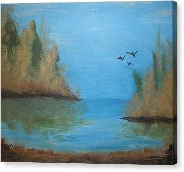 Canvas Print featuring the painting Fall Scene by Betty-Anne McDonald