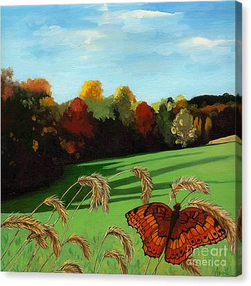 Fall Scene Of Ohio Nature Painting Canvas Print by Linda Apple