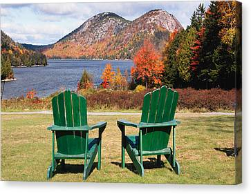 Fall Scenic With  Adirondack Chairs At Jordan Pond Canvas Print by George Oze