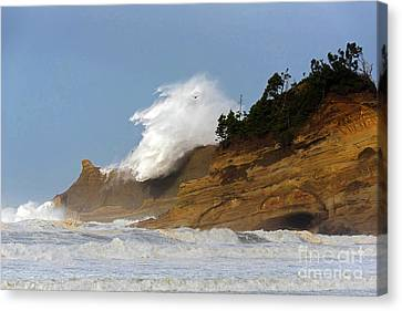 Fall Storm Waves Over Kiwanda Canvas Print by Tim Moore