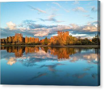 Drone Photo Of The Colorful Autumn Trees Reflecting In The Water Canvas Print