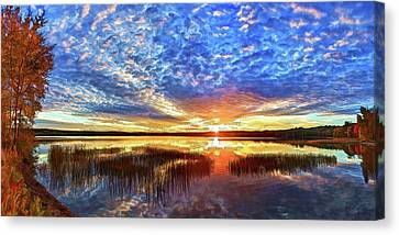 Fall Sunset At Round Lake Canvas Print by ABeautifulSky Photography