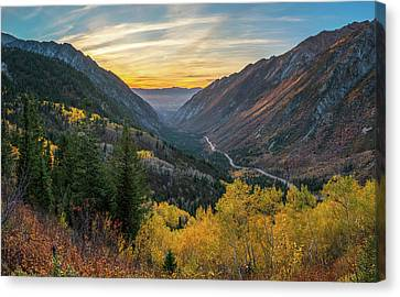 Fall Sunset In Little Cottonwood Canyon Canvas Print by James Udall