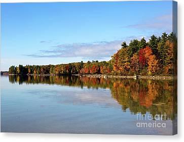 Fall Tree Reflections Lake Sabago Maine Canvas Print