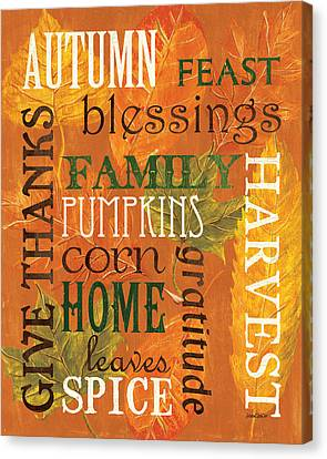 Fall Typography 1 Canvas Print by Debbie DeWitt