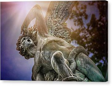 Dark Angel Art Canvas Print - Fallen Angel Retiro Park Madrid  by Carol Japp