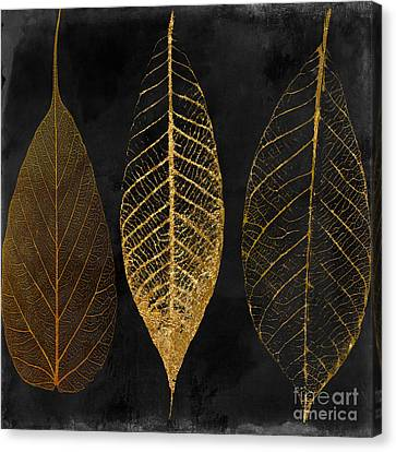 White Flower Canvas Print - Fallen Gold II Autumn Leaves by Mindy Sommers