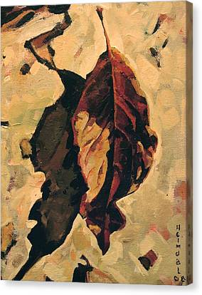 Canvas Print featuring the painting Fallen Leaf by Tim  Heimdal