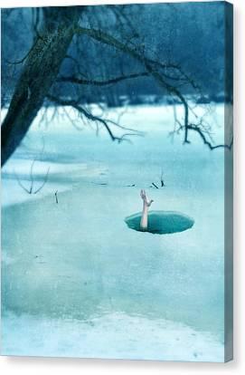 Fallen Through The Ice Canvas Print by Jill Battaglia