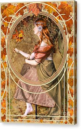 Mucha Canvas Print - Falling Leaves by John Edwards