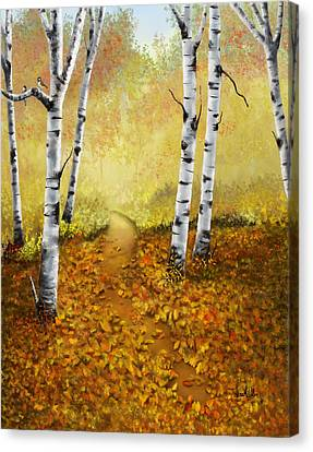 Canvas Print featuring the painting Falling Leaves by Sena Wilson