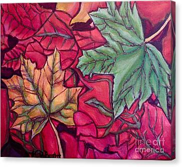Falling Leaves Two Painting Canvas Print by Kimberlee Baxter