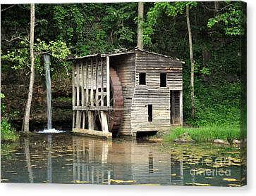 Falling Spring Mill 3 Canvas Print by Marty Koch