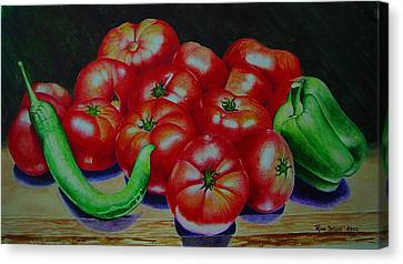 Falling Tomato Canvas Print by Ron Sylvia