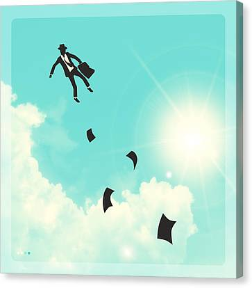 Surrealism Canvas Print - Falling Up by Jazzberry Blue