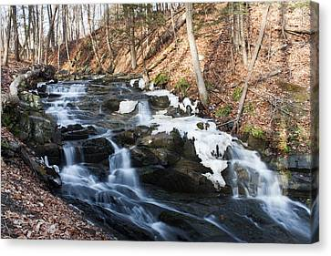 Falling Waters In February #1 Canvas Print by Jeff Severson