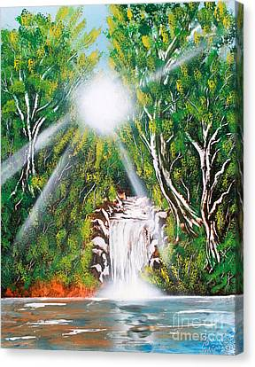 Canvas Print featuring the painting Falls 03 by Greg Moores