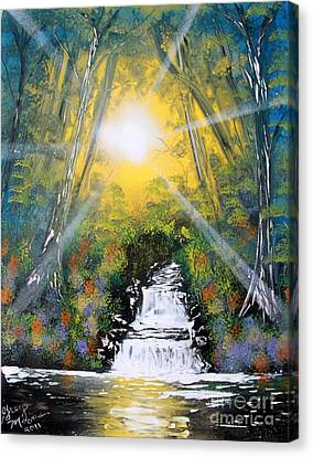Canvas Print featuring the painting Falls 05 by Greg Moores
