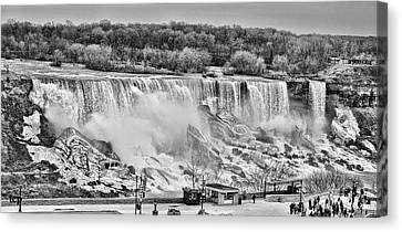 Canvas Print featuring the photograph Falls Black And White by Traci Cottingham