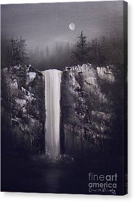 Falls By Moonlight Canvas Print by Crispin  Delgado