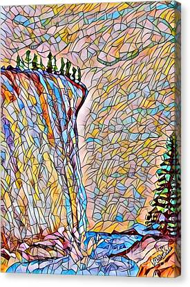 Falls From Clouds Falls - Stained Glass Canvas Print