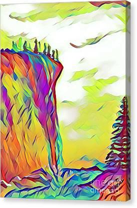 Falls From Clouds Falls - Watercolor Canvas Print