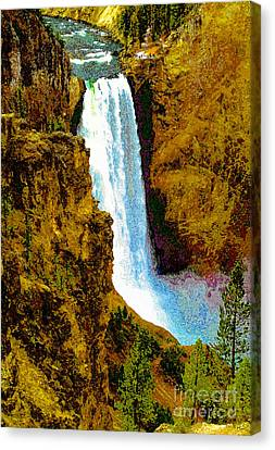 Falls Of The Yellowstone Canvas Print by David Lee Thompson