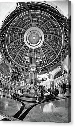 Glass And Metal Art Canvas Print - Fallsview Casino Lobby - Niagara Falls Bw by Steve Harrington