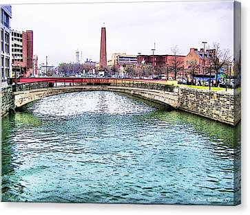 Canvas Print featuring the photograph Fallswalk And Shot Tower by Brian Wallace