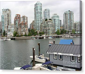 Canvas Print featuring the painting False Creek Vancouver by Rod Jellison