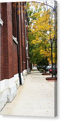 Familair Streets To An Old Women Canvas Print by Jamie Lynn