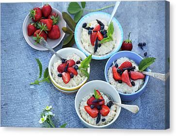 Four Strawberries Canvas Print - Family Breakfast  by Iuliia Malivanchuk
