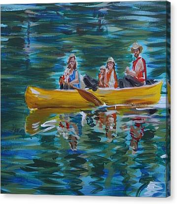 Canvas Print featuring the painting Family Canoe Trip From Spring 1 by Jan Swaren