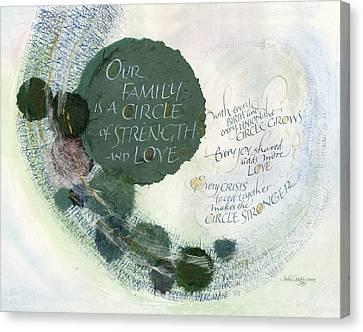 Writing Canvas Print - Family Circle by Judy Dodds