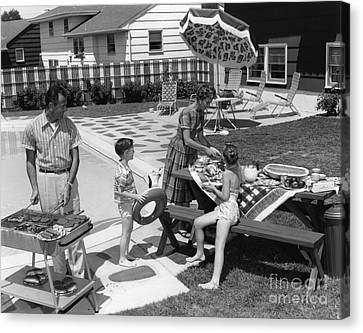 Family Cookout, C.1960s Canvas Print by H. Armstrong Roberts/ClassicStock